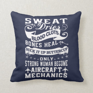 Aircraft Mechanic Woman Cushion