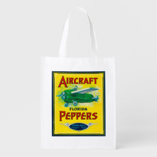 Aircraft Pepper Label Reusable Grocery Bag