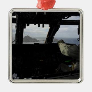 Aircrews approach Farallon Island Silver-Colored Square Decoration