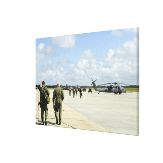 Aircrews prepare to depart stretched canvas print