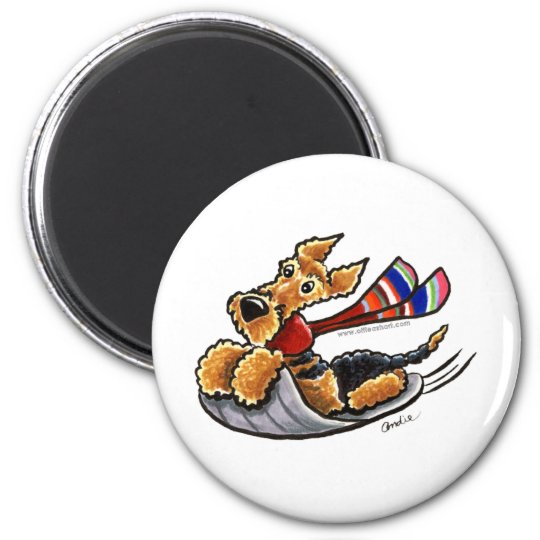 Aire-Sledding Airedale Terrier 6 Cm Round Magnet