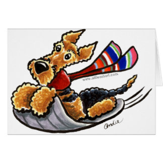 Aire-Sledding Airedale Terrier Greeting Card