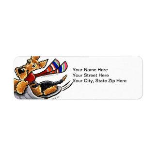 Aire-Sledding Airedale Terrier Return Address Label