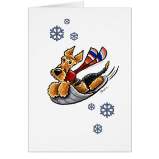 Aire-Sledding Airedale Terrier Note Card