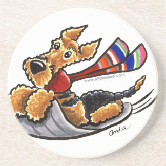 Aire-Sledding Airedale Terrier Sandstone Coaster