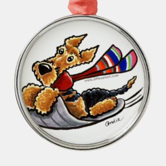 Aire-Sledding Airedale Terrier Silver-Colored Round Decoration