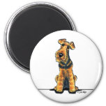 Airedale Cartoon 6 Cm Round Magnet