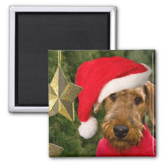 Airedale Christmas Santa Square Magnet