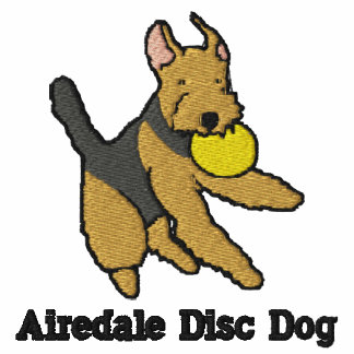 Airedale Disc Dog Embroidered Shirt (T-Shirt)