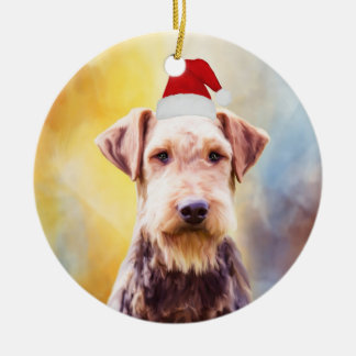 Airedale Dog Christmas Santa Hat Art Portrait Christmas Ornament