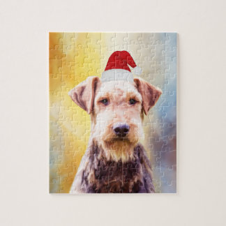 Airedale Dog Christmas Santa Hat Art Portrait Smal Jigsaw Puzzle