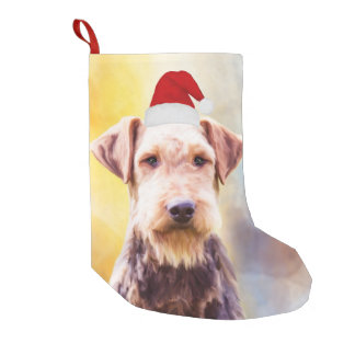 Airedale Dog Christmas Santa Hat Art Portrait Small Christmas Stocking