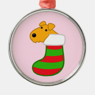 Airedale Dog in Christmas Stocking Ornament