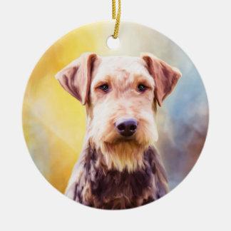 Airedale Dog Watercolor Art Portrait Christmas Ornament