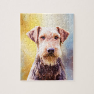 Airedale Dog Watercolor Art Portrait Jigsaw Puzzle
