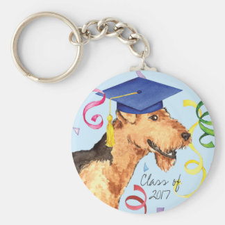 Airedale Graduate Basic Round Button Key Ring