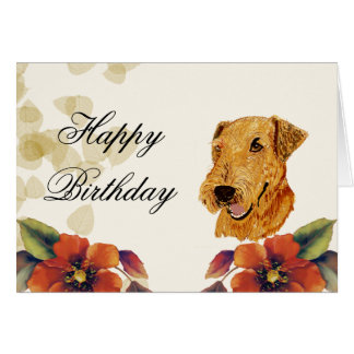 Airedale Happy Birthday Greeting Card