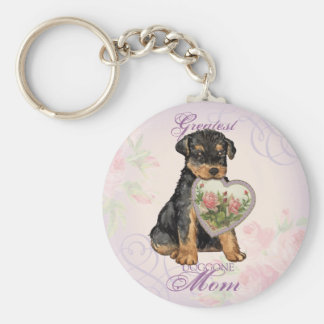 Airedale Heart Mom Keychains