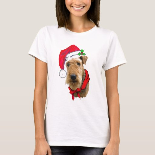 Image of Airedale In Santa Hat T-shirt