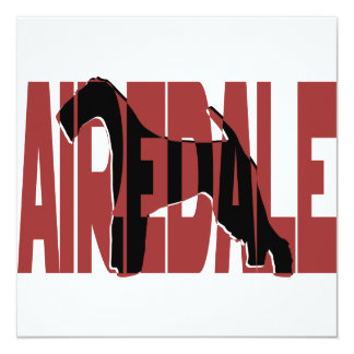 Airedale, King of Terriers, Silhouette Personalized Invitation