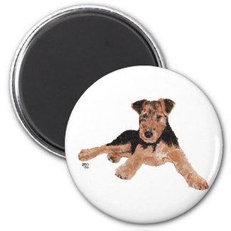 Airedale, Lakeland, Welsh Terrier Pup 6 Cm Round Magnet