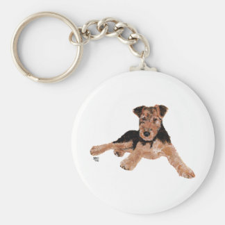 Airedale, Lakeland, Welsh Terrier Pup Basic Round Button Key Ring