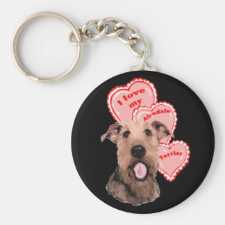 airedale love basic round button key ring