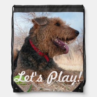 Airedale playing ball in dried grasses drawstring bag