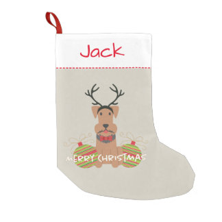 Airedale Reindeer Merry Christmas Pet Small Christmas Stocking
