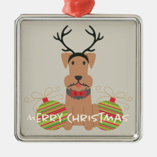 Airedale Reindeer Merry Christmas Silver-Colored Square Decoration