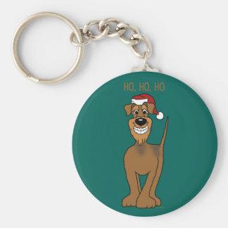 Airedale Santa Basic Round Button Key Ring
