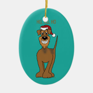 Airedale Santa Ceramic Oval Decoration