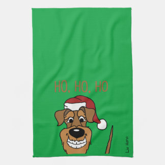 Airedale Santa Tea Towel