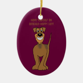 Airedale Smile Christmas Ornament