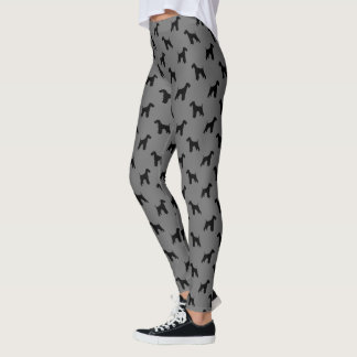 Airedale Terrie Silhouettes Pattern Black and Grey Leggings