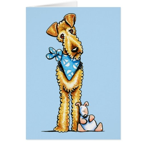 Airedale Terrier and Puppy Greeting Cards
