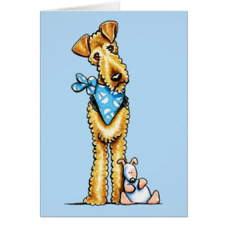Airedale Terrier and Puppy Greeting Card