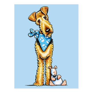 Airedale Terrier and Puppy Postcard