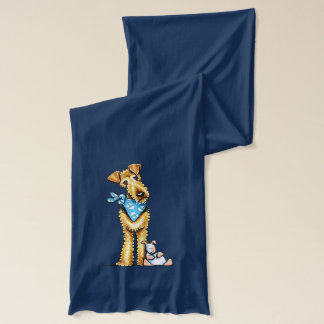 Airedale Terrier and Puppy Scarf