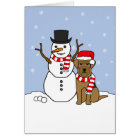 Airedale Terrier and Snowman Card