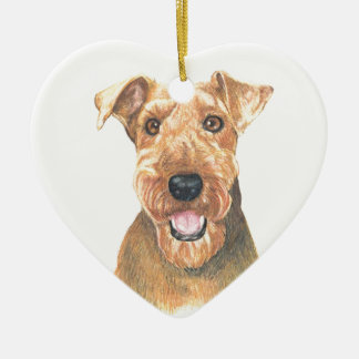 Airedale Terrier Art Ceramic Heart Decoration