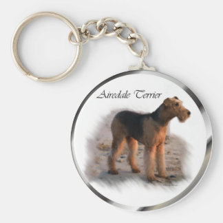 Airedale Terrier Art Gifts Basic Round Button Key Ring