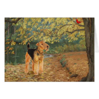 Airedale Terrier Birdwatching Card