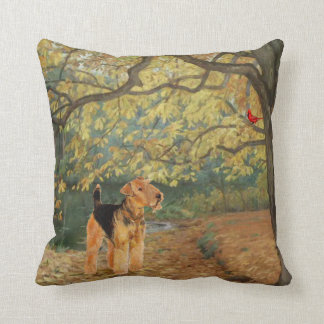 Airedale Terrier Birdwatching Cushion