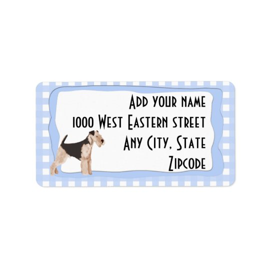 Airedale Terrier Blue Gingham Address Label