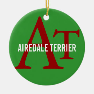 Airedale Terrier Breed Monogram Round Ceramic Decoration