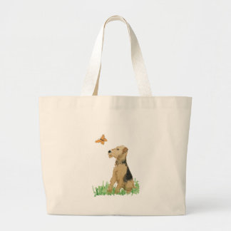 Airedale Terrier & Butterfly Large Tote Bag