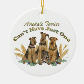 Airedale Terrier Can't Have Just One Christmas Ornament