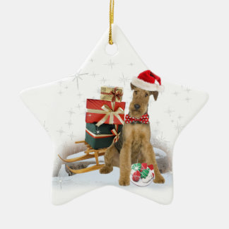 Airedale Terrier Christmas Ceramic Star Decoration