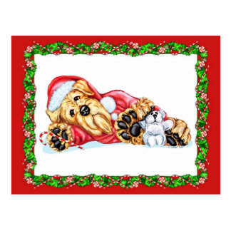Airedale Terrier Christmas Waiting for Santa Postcard